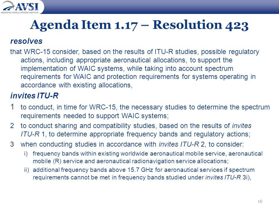 Agenda Item 1.17 – Resolution 423