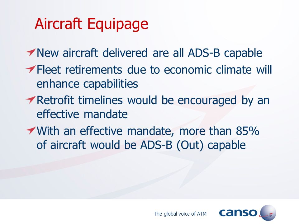 Aircraft Equipage New aircraft delivered are all ADS-B capable