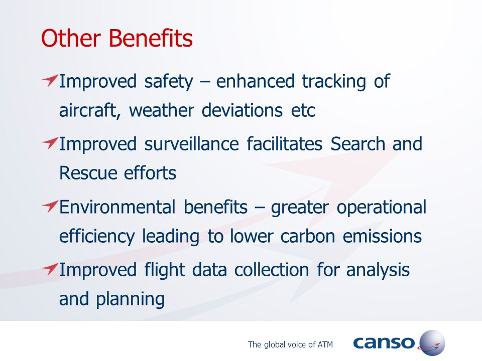 Other Benefits Improved safety – enhanced tracking of aircraft, weather deviations etc. Improved surveillance facilitates Search and Rescue efforts.