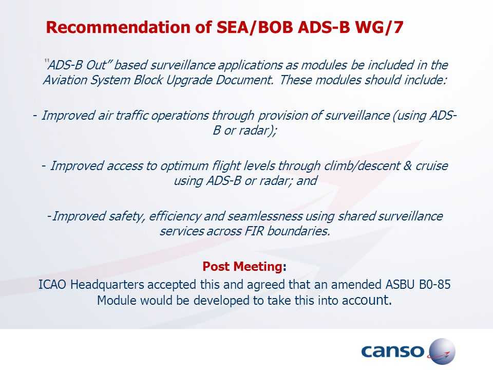 Recommendation of SEA/BOB ADS-B WG/7