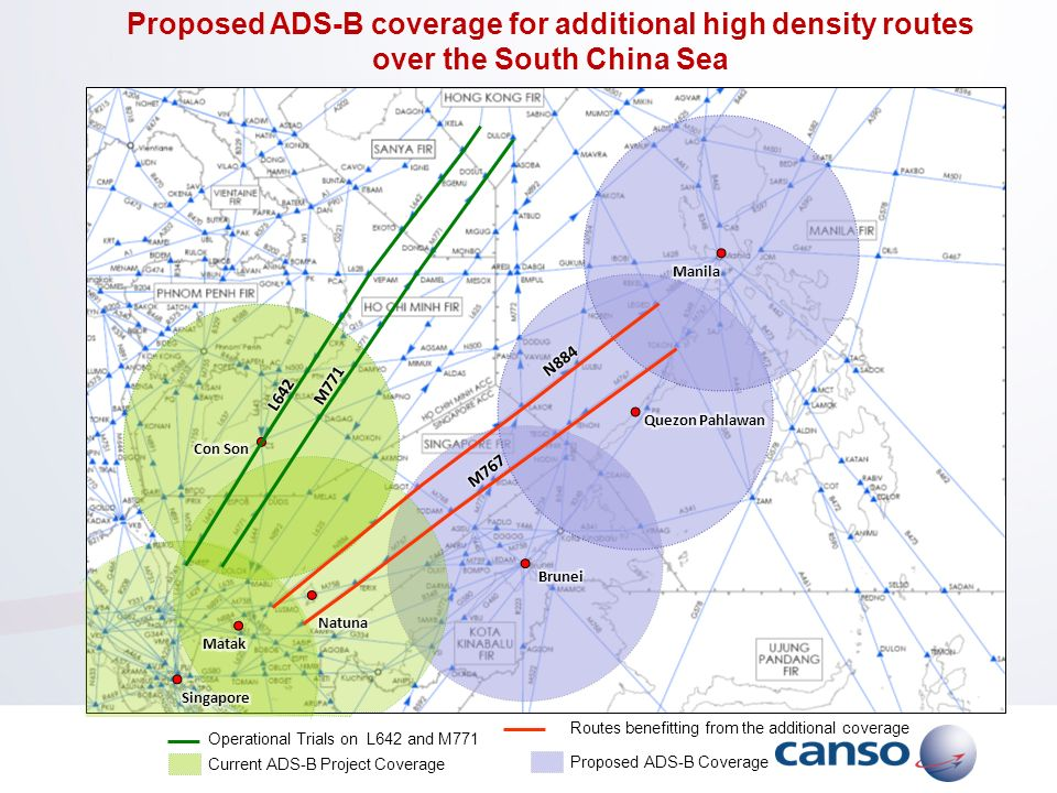 Proposed ADS-B coverage for additional high density routes