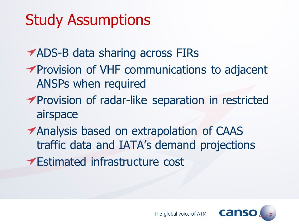 Study Assumptions ADS-B data sharing across FIRs