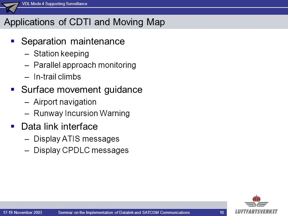 Applications of CDTI and Moving Map