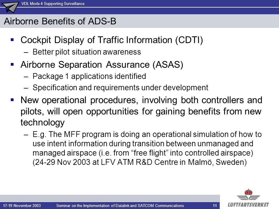 Airborne Benefits of ADS-B