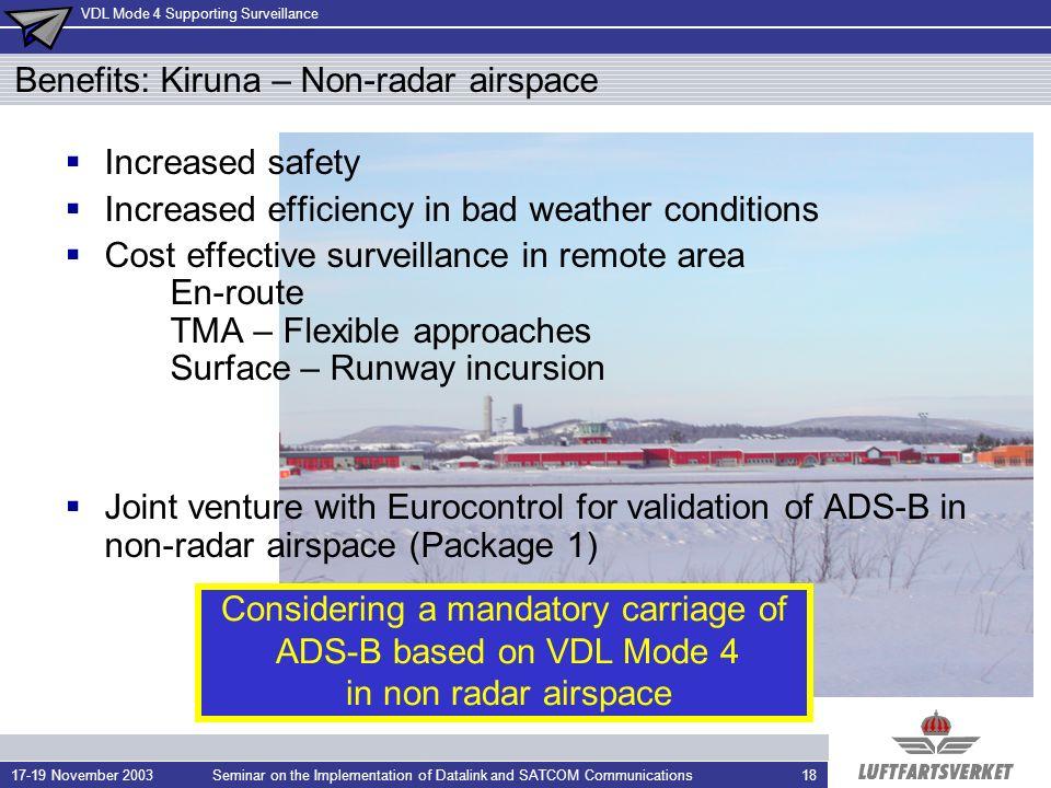 Benefits: Kiruna – Non-radar airspace