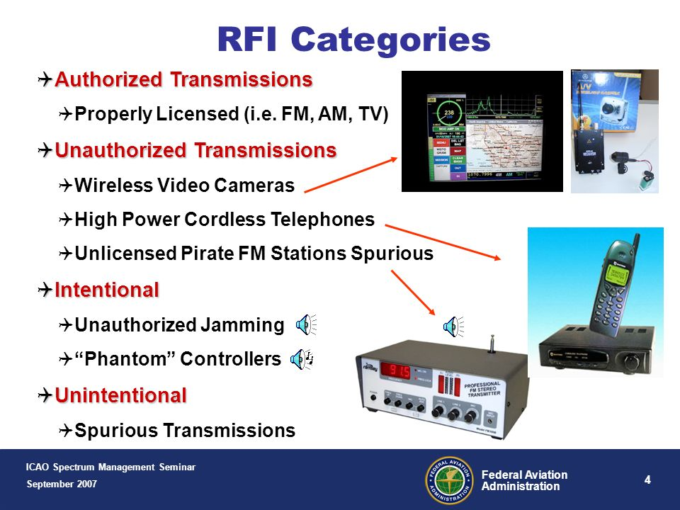 RFI Categories Authorized Transmissions Unauthorized Transmissions
