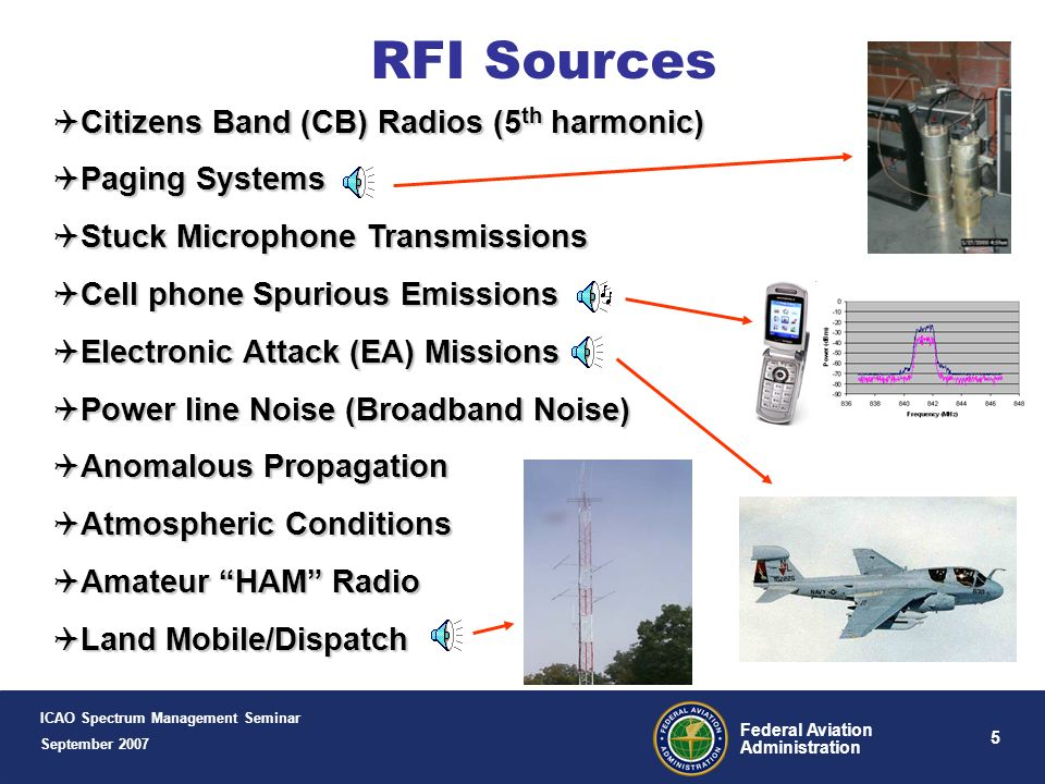 RFI Sources Citizens Band (CB) Radios (5th harmonic) Paging Systems