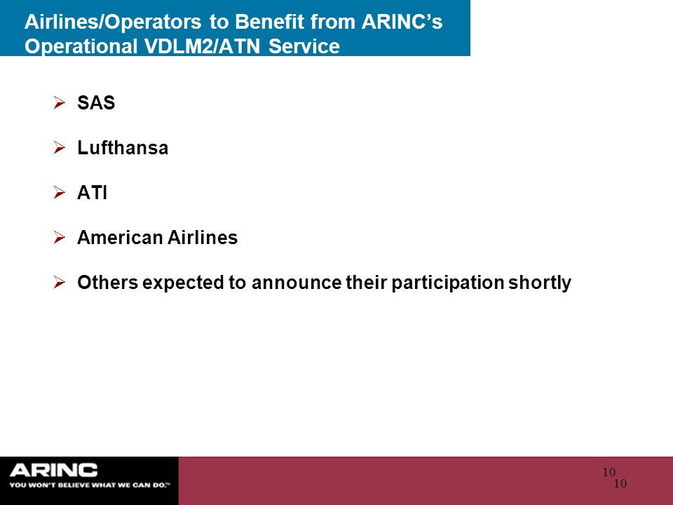 Airlines/Operators to Benefit from ARINC's Operational VDLM2/ATN Service