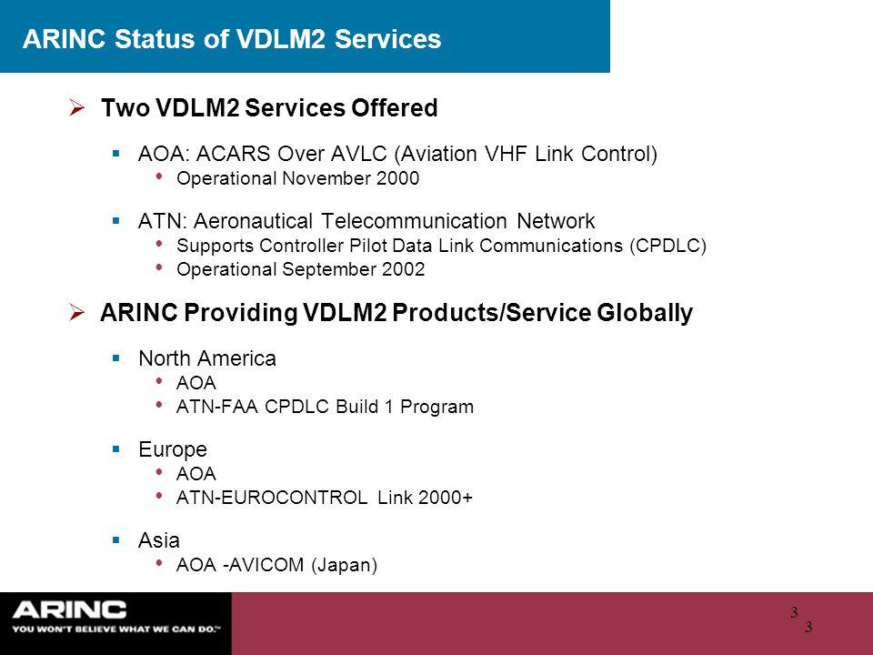 ARINC Status of VDLM2 Services