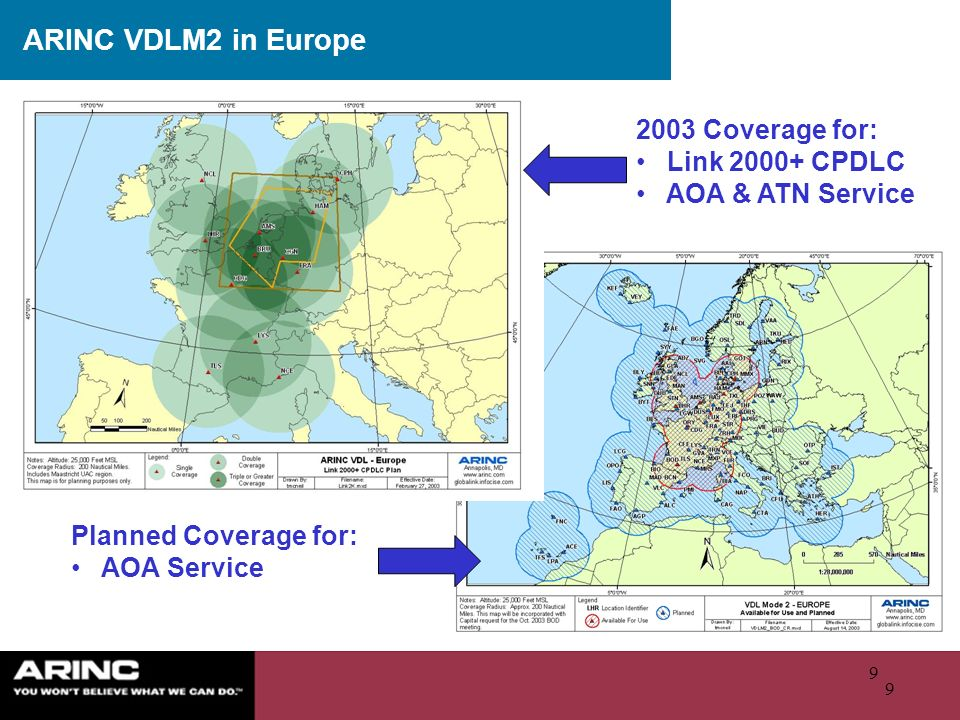 ARINC VDLM2 in Europe 2003 Coverage for: Link 2000+ CPDLC