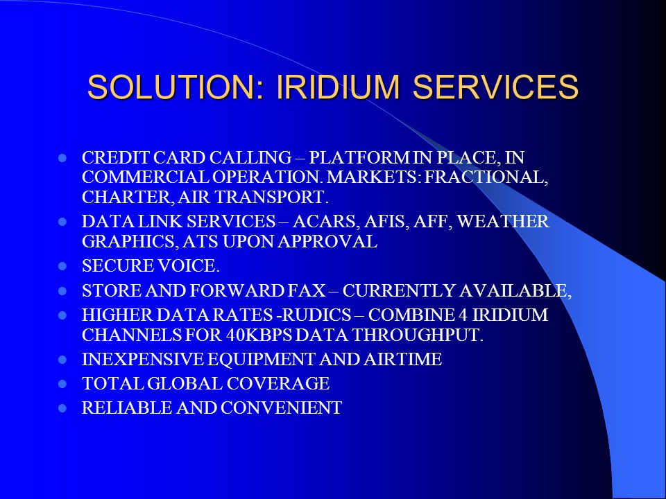 SOLUTION: IRIDIUM SERVICES