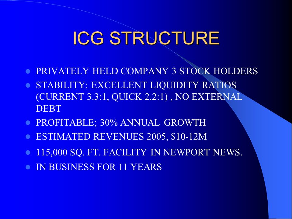 ICG STRUCTURE PRIVATELY HELD COMPANY 3 STOCK HOLDERS