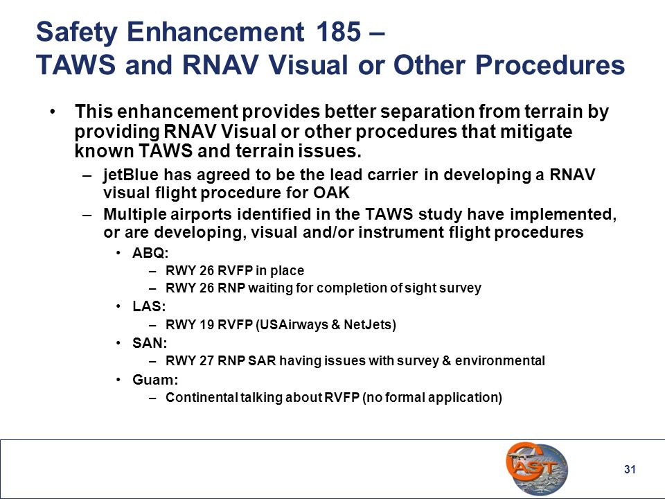 Safety Enhancement 185 – TAWS and RNAV Visual or Other Procedures