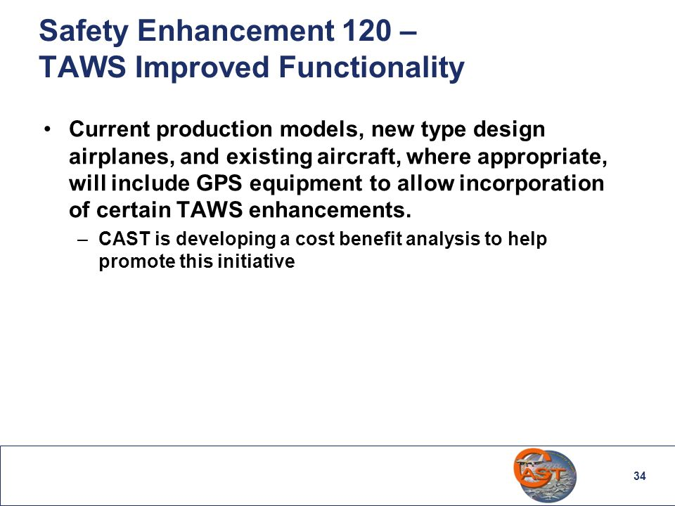 Safety Enhancement 120 – TAWS Improved Functionality