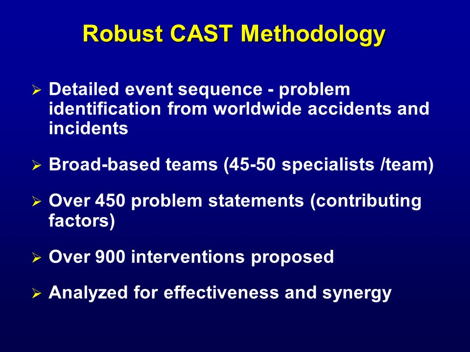 Robust CAST Methodology