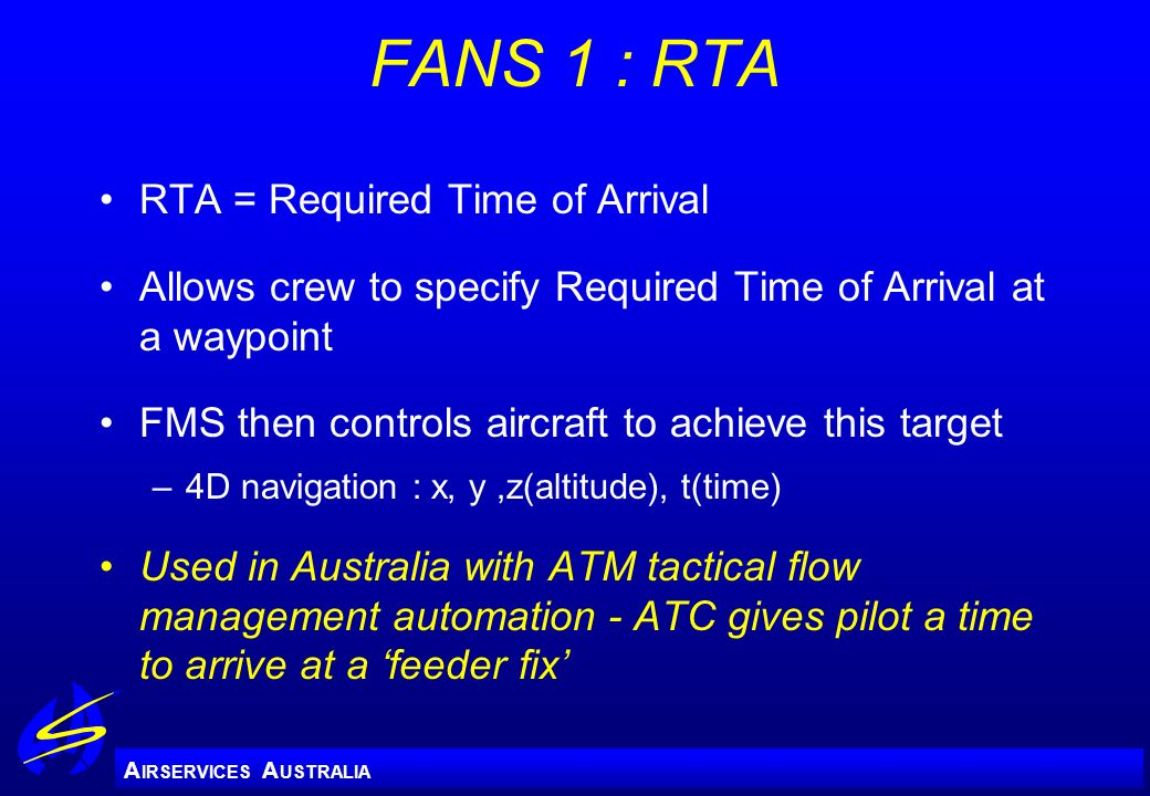 FANS 1 : RTA RTA = Required Time of Arrival