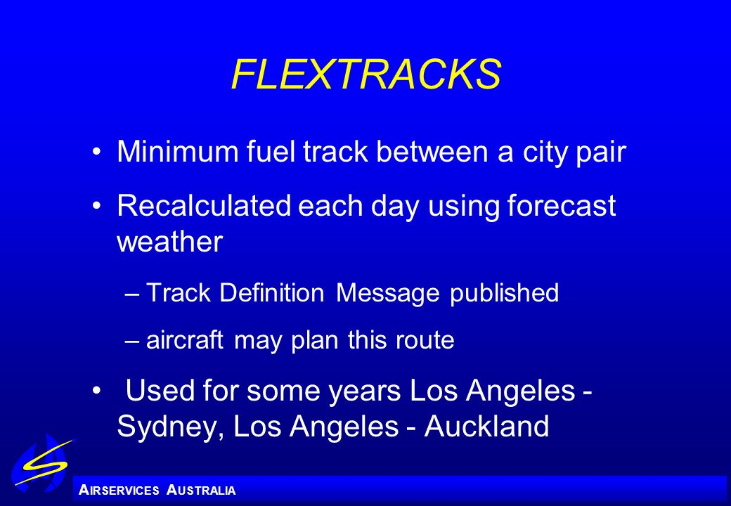 FLEXTRACKS Minimum fuel track between a city pair