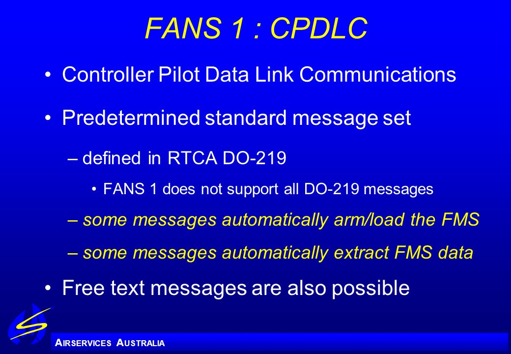 FANS 1 : CPDLC Controller Pilot Data Link Communications
