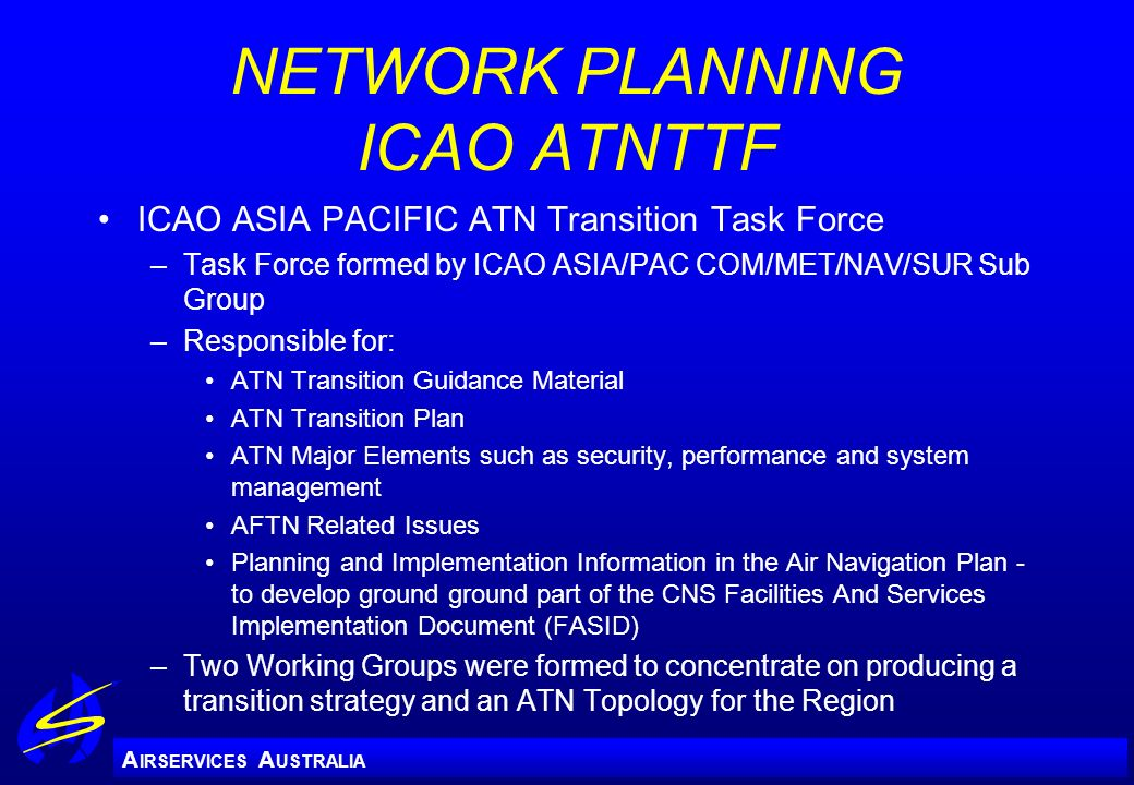 NETWORK PLANNING ICAO ATNTTF