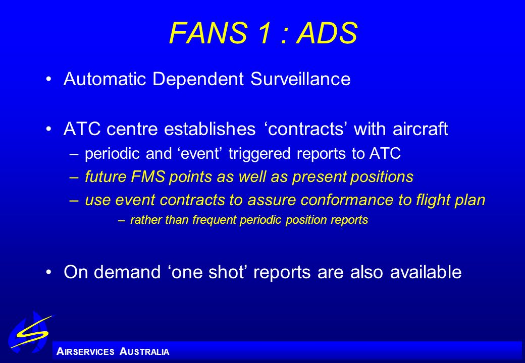 FANS 1 : ADS Automatic Dependent Surveillance