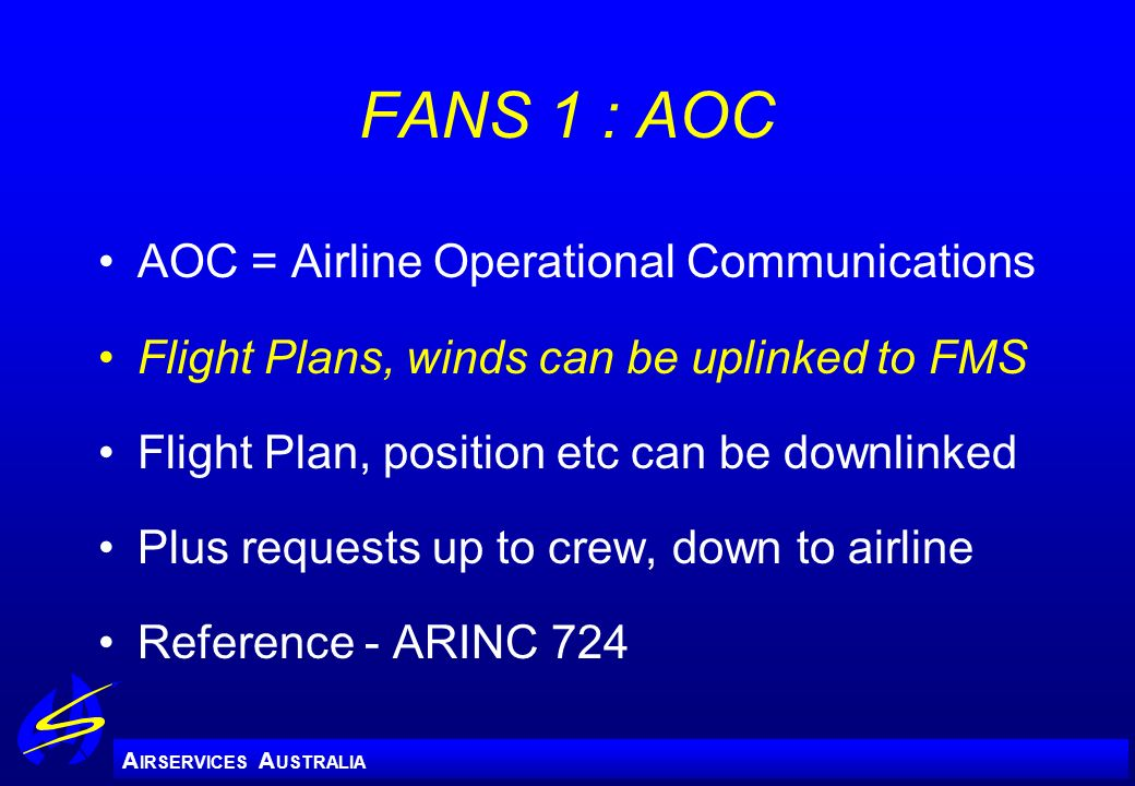 FANS 1 : AOC AOC = Airline Operational Communications