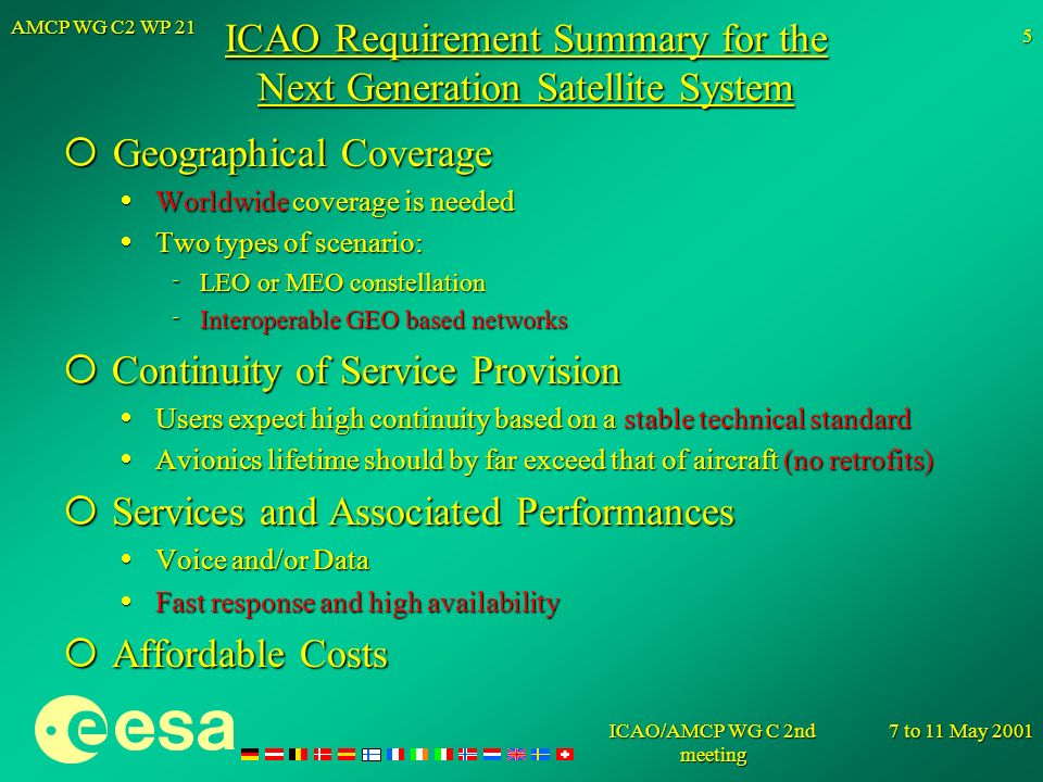 ICAO Requirement Summary for the Next Generation Satellite System