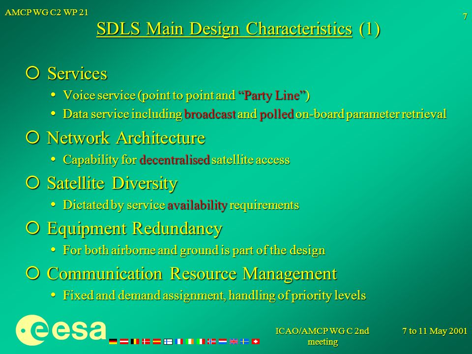 SDLS Main Design Characteristics (1)