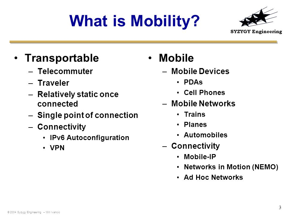 What is Mobility Transportable Mobile Telecommuter Traveler