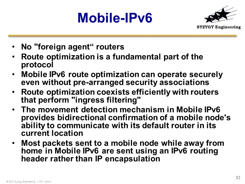 Mobile-IPv6 No foreign agent routers