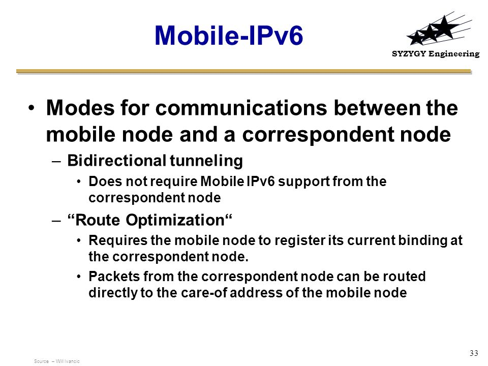 Mobile-IPv6 Modes for communications between the mobile node and a correspondent node. Bidirectional tunneling.