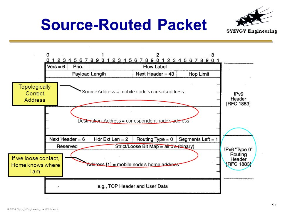 Source-Routed Packet Topologically Correct Address