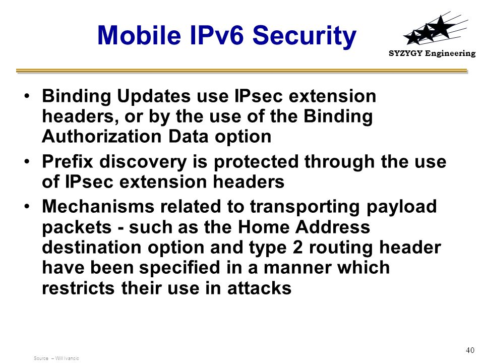 Mobile IPv6 Security Binding Updates use IPsec extension headers, or by the use of the Binding Authorization Data option.