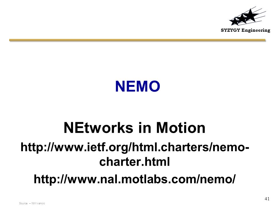 NEMO NEtworks in Motion