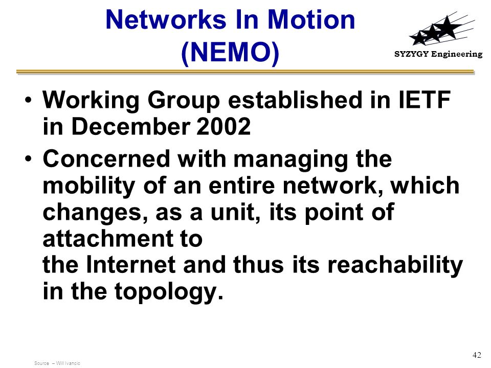 Networks In Motion (NEMO)