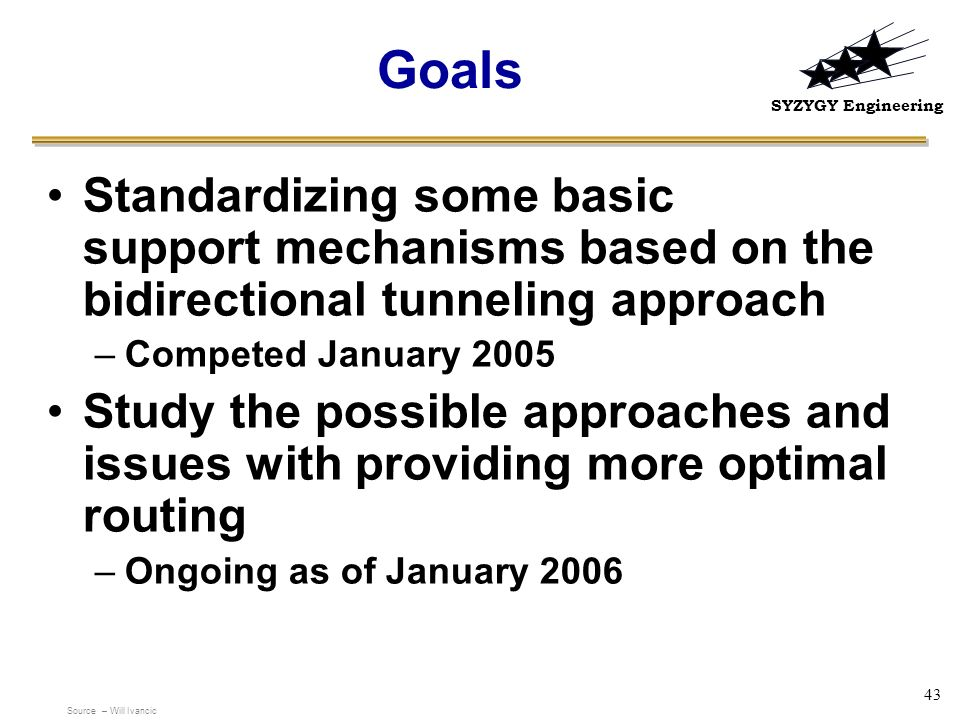 Goals Standardizing some basic support mechanisms based on the bidirectional tunneling approach. Competed January 2005.