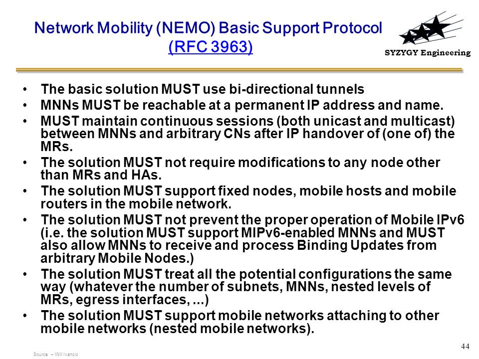Network Mobility (NEMO) Basic Support Protocol (RFC 3963)