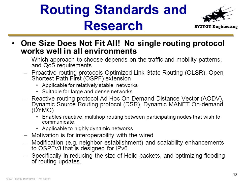 Routing Standards and Research