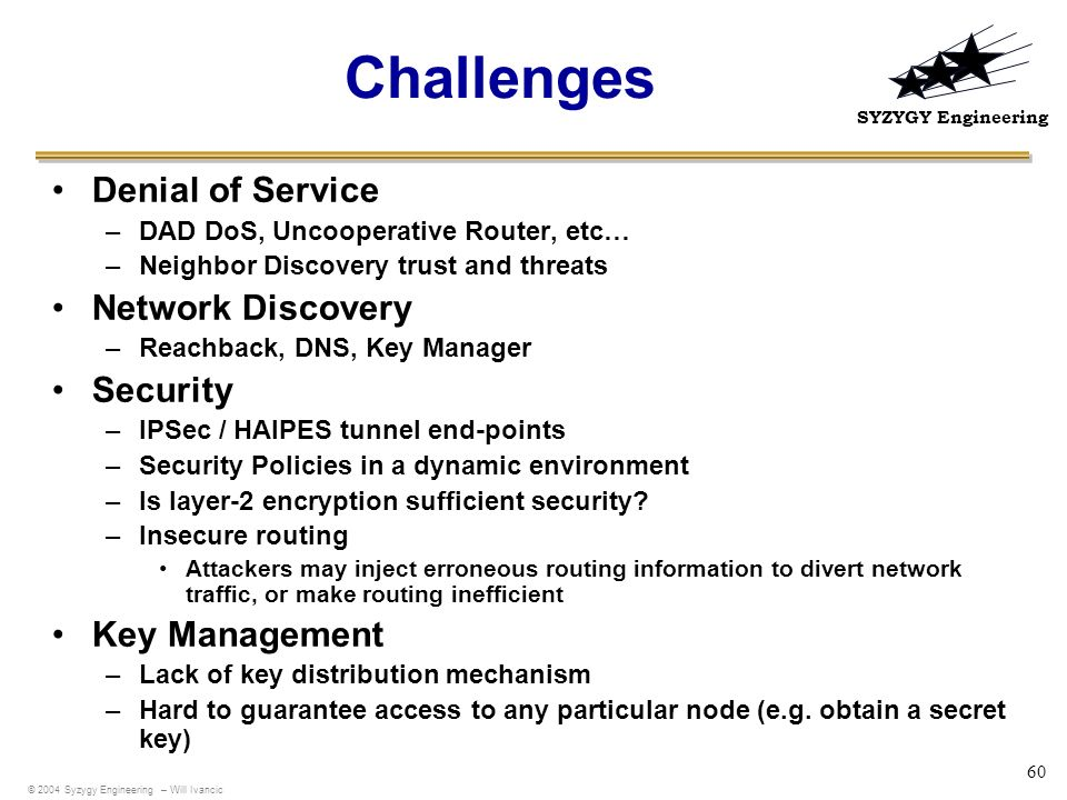 Challenges Denial of Service Network Discovery Security Key Management