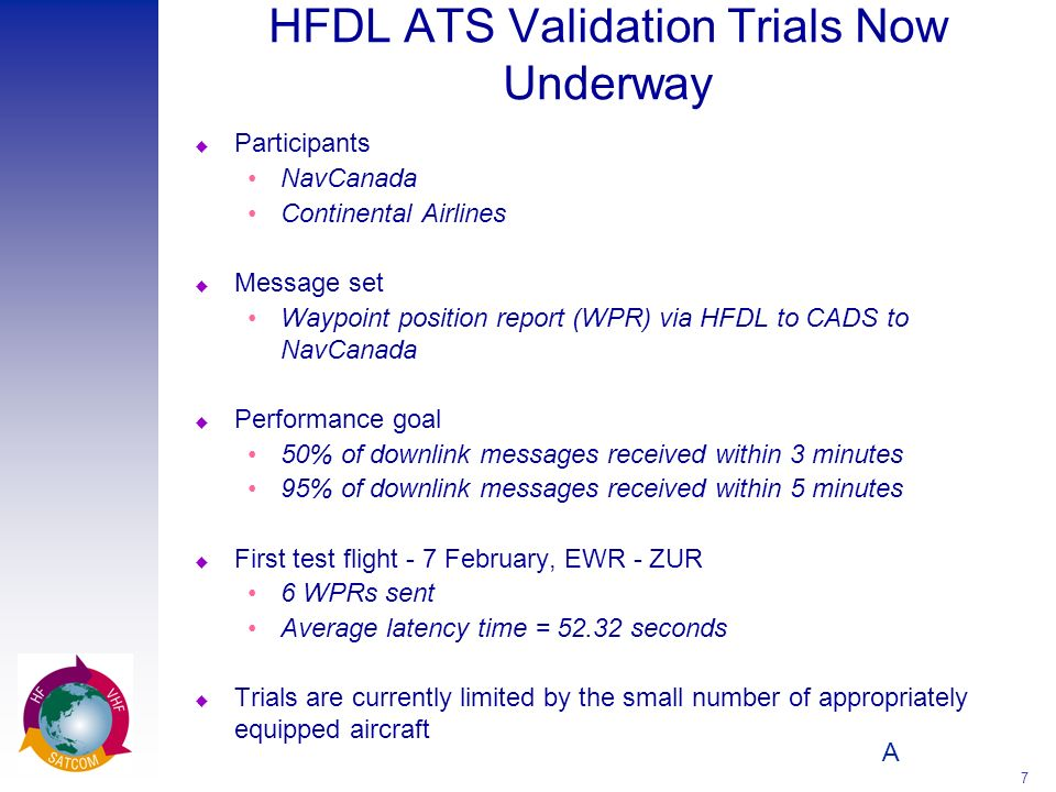 HFDL ATS Validation Trials Now Underway
