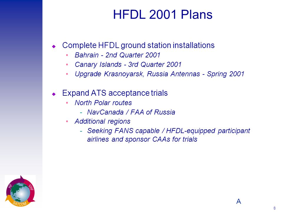 HFDL 2001 Plans Complete HFDL ground station installations