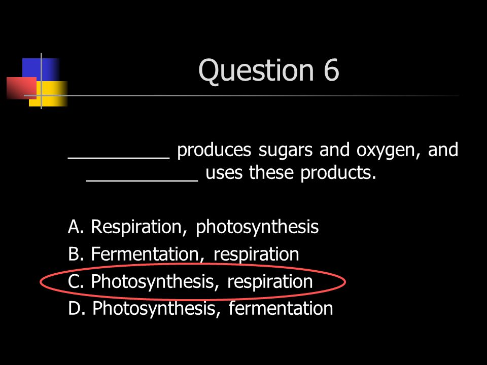 Question 6 __________ produces sugars and oxygen, and ___________ uses these products. A. Respiration, photosynthesis.