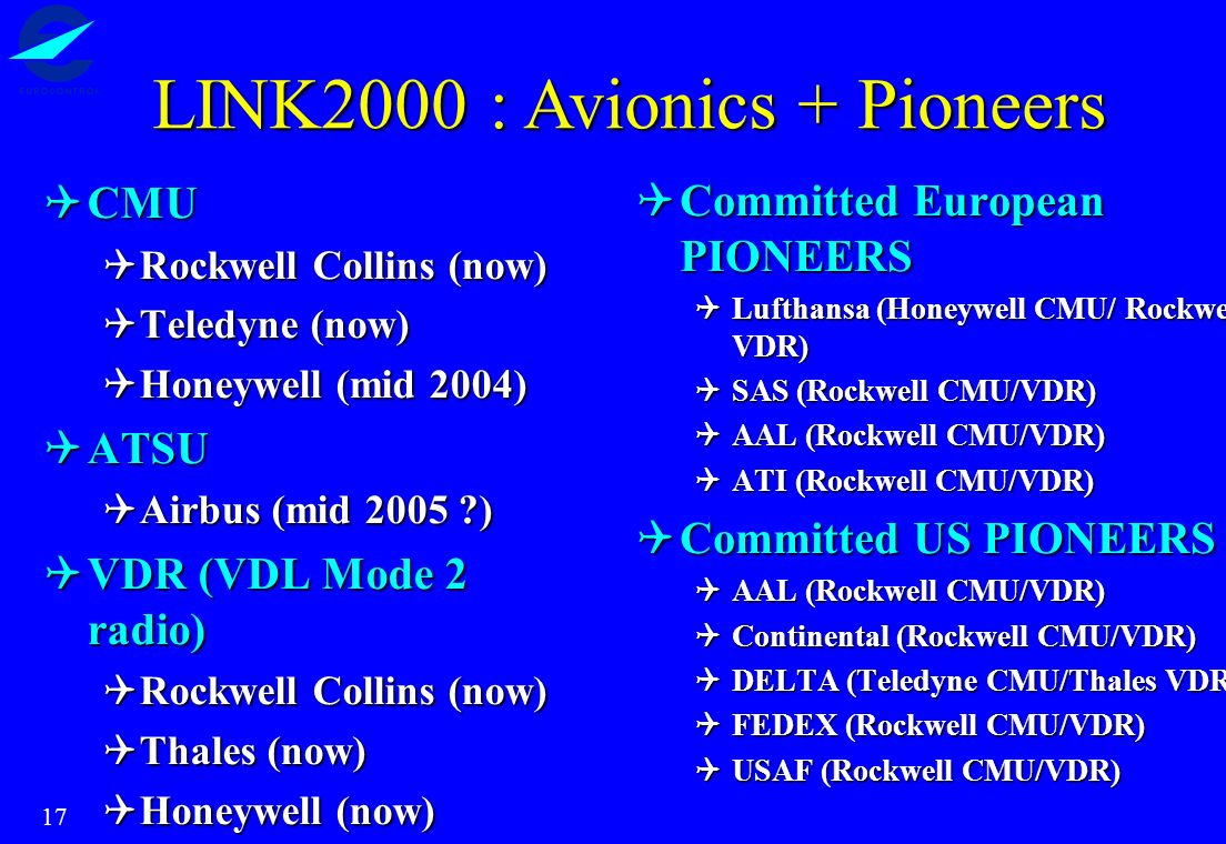 LINK2000 : Avionics + Pioneers