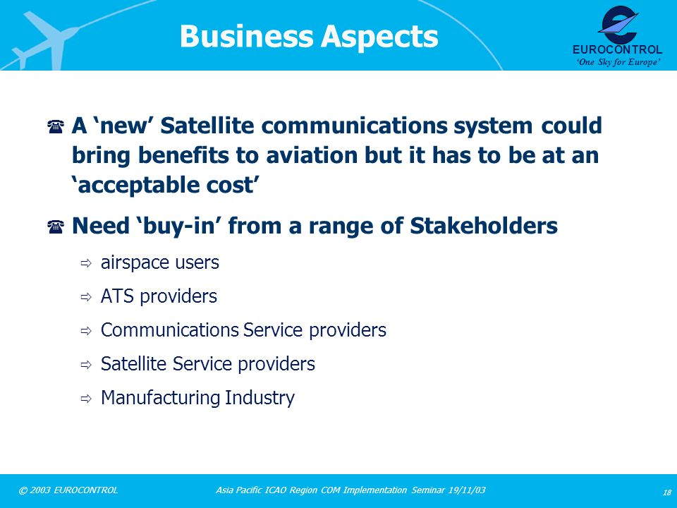 Business Aspects A 'new' Satellite communications system could bring benefits to aviation but it has to be at an 'acceptable cost'