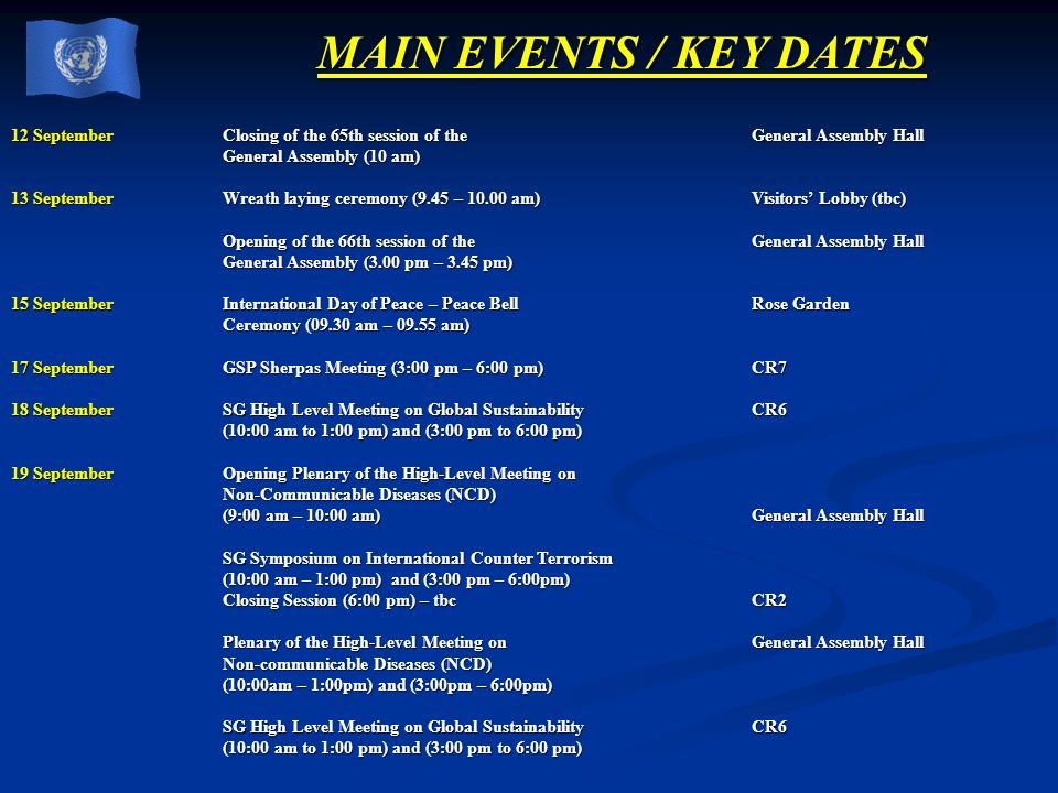 MAIN EVENTS / KEY DATES 12 September Closing of the 65th session of the General Assembly Hall.