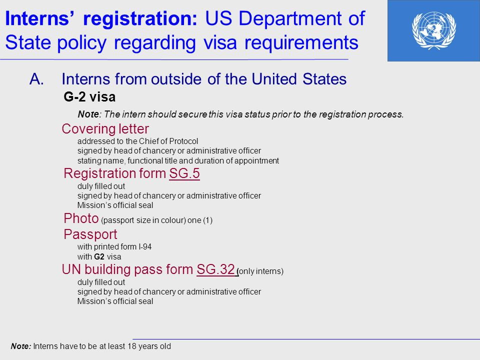 Interns' registration: US Department of State policy regarding visa requirements