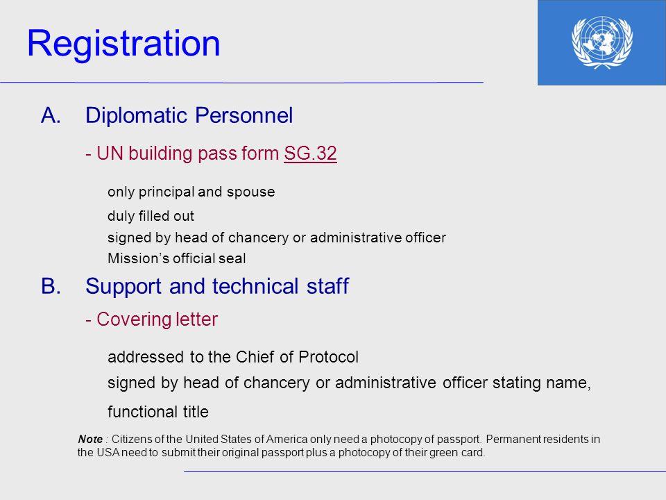 Registration - UN building pass form SG.32 only principal and spouse