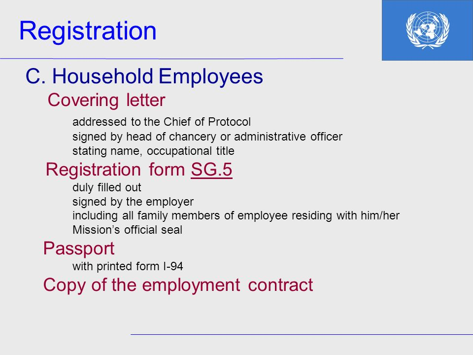 Registration C. Household Employees Covering letter