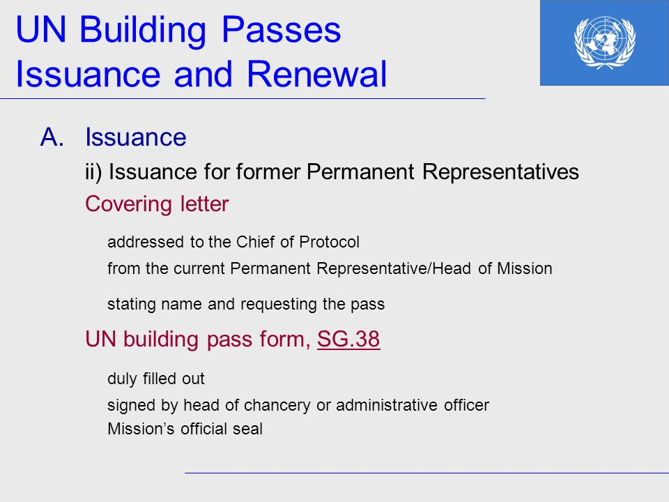 UN Building Passes Issuance and Renewal