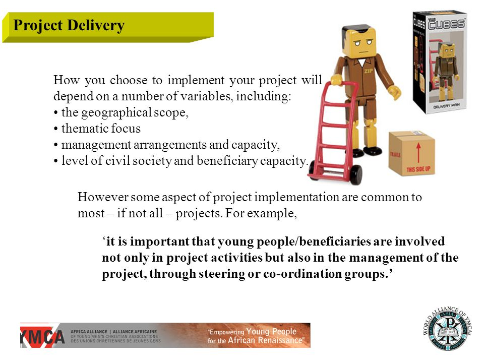 Project Delivery How you choose to implement your project will depend on a number of variables, including: