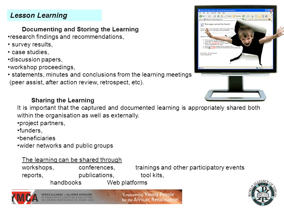 Lesson Learning Documenting and Storing the Learning